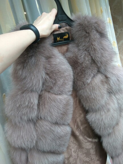 FURSARCAR Real Natural Fur Vest Women Fox Fur Coat 2019 New Luxury Female Fur Jacket Warm Thick Long Winter Fur Vest Waistcoat
