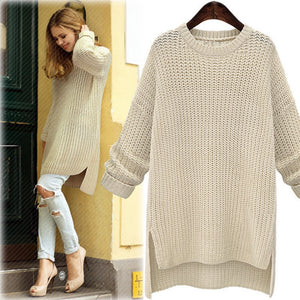 2019 Winter Midi Long Thick Sweaters for Women New Irregular O-Neck Cute Solid Knitted Pullovers Girls Lady Casual Split Sweater
