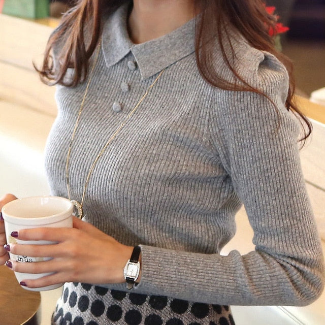 Fashion Casual Autumn Winter Knitted Women Sweaters and Pullovers Solid Buttons Work Office Pullover Slim Sueter Mujer