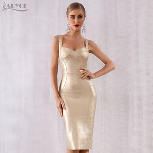 Adyce 2019 New Summer Women Bodycon Bandage Dress Vestidos Gold Spaghetti Strap Club Dress Elegant Celebrity Runway Party Dress