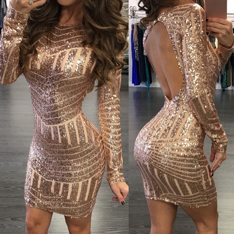 MONERFFI Sexy Backless Gold Sequin Women Dress Long Sleeve Bodycon Mini  Party Short Dress Package Hip Sheath Vestidos