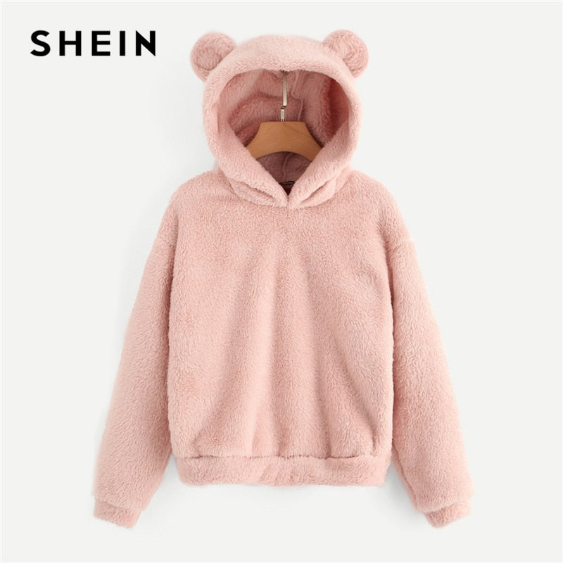 SHEIN Preppy Lovely With Bears Ears Solid Teddy Hoodie Pullovers Sweatshirt Autumn Women Campus Casual Sweatshirts
