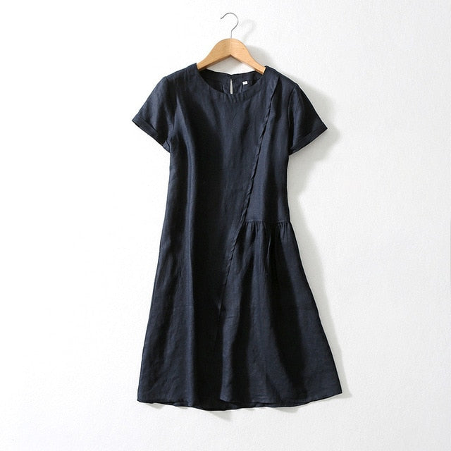 Women Silk Dress 100%Linen Solid Office Lady Dresses for Women O Neck Knee Length Silk Dress 2019 Summer Dress