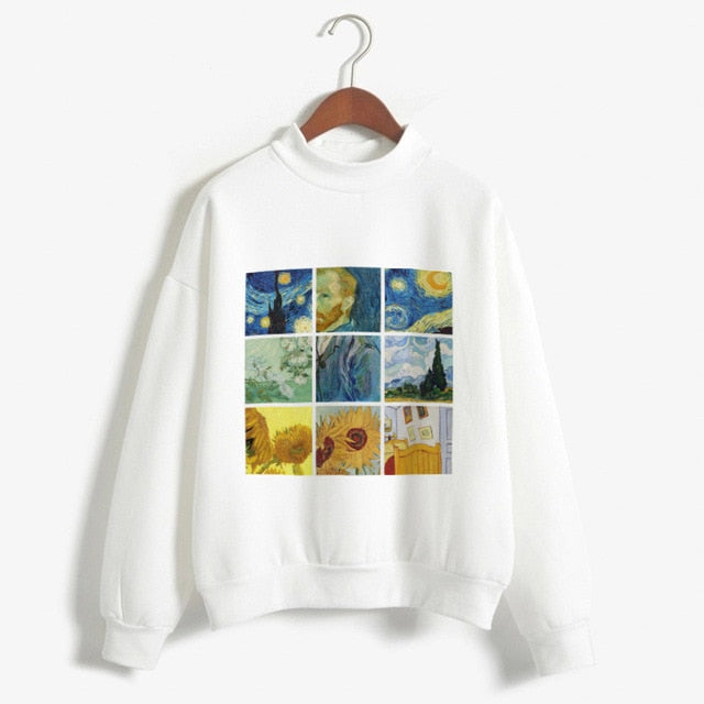 Kpop Fashion Hoodies Van Gogh Art Oil Paint Harajuku Michelangelo Ulzzang Vintage Long Sleeve Hoody Ladies Oversized Sweatshirt