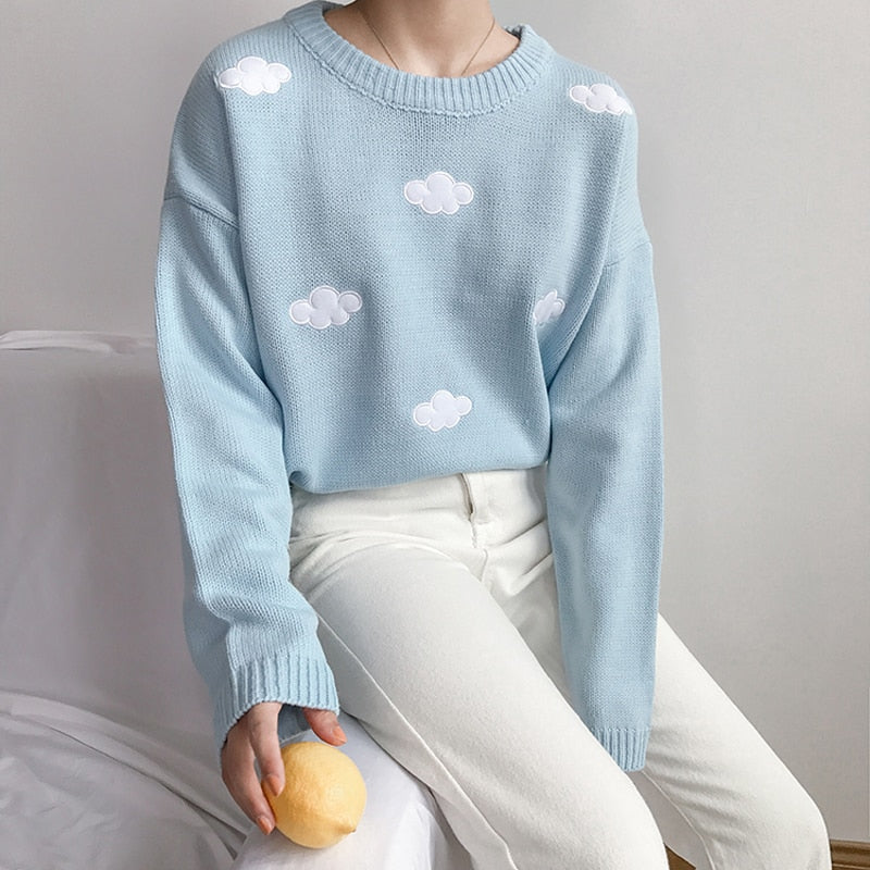 2019 Women'S Kawaii Ulzzang Vintage College Loose Clouds Sweater Female Korean Punk Thick Cute Loose Harajuku Clothing For Women