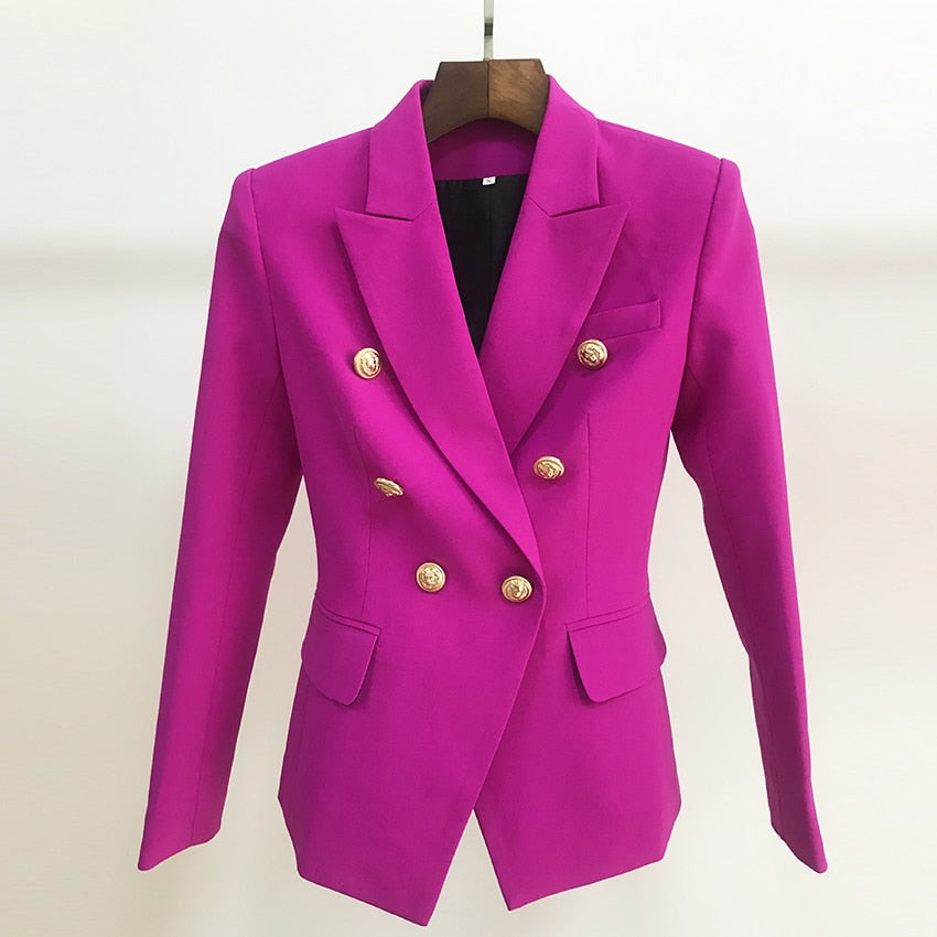 HIGH STREET 2019 New Designer Blazer Women's Double Breasted Lion Buttons Slim Fitting Gorgeous Purple Blazer Jacket
