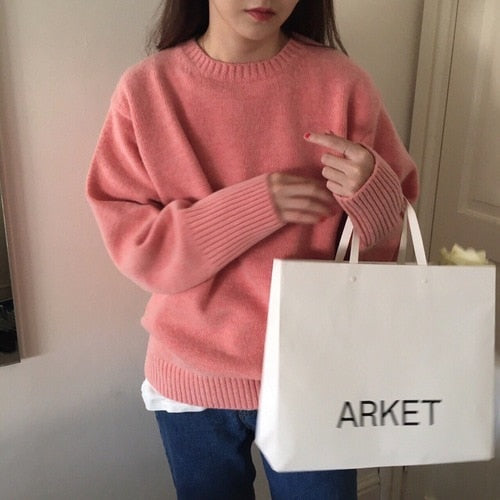 Pullovers Women Solid O-Neck Warm Simple Elegant Students Korean Style Leisure Female Loose Kawaii Womens High Quality Pullover