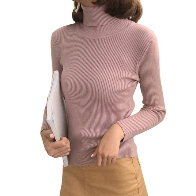Autumn Fall Women Sweater Slim Soft Long Sleeve High Neck Knit Pullover Sexy Slim Stretch Turtleneck Sweaters