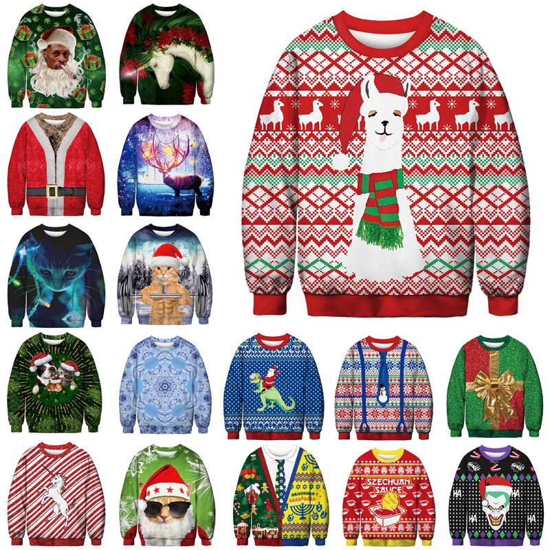 2019 Unisex Men Women Ugly Christmas Sweater Vacation Santa Elf Funny Christmas Cos Fake Hair Jumper Autumn Winter Tops Clothing