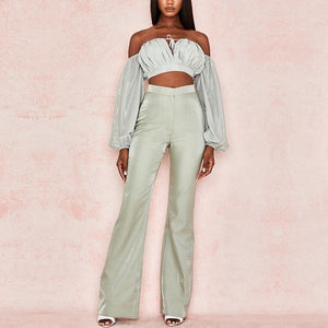 Adyce 2019 New Arrivals Two Pieces Sets Long Sleeve Short Top& Long Pants Hot Sale 2 pieces Women Elegant Fashion Casual Sets