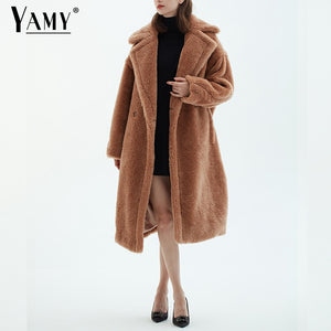 Teddy jacket faux fur coat long red white pink fur coat female vintage fur collar winter coat women elegant shaggy fur coats
