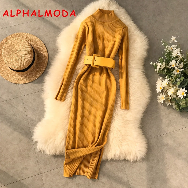ALPHALMODA 2019 New Winter Dress High Collar Long-sleeved Side Slit Women Pullovers Sexy Winter Dress With Waist Belt Casual Fit