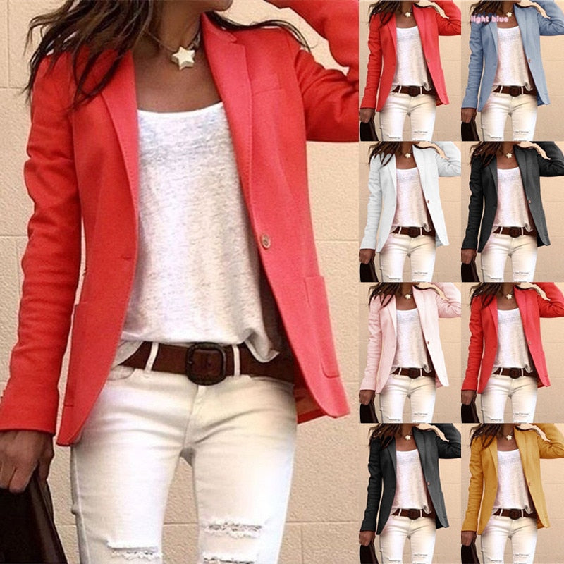 6 Colors Women Pure Color Office Lady Long Sleeve Lapel Collar Slim Simple Style Suit