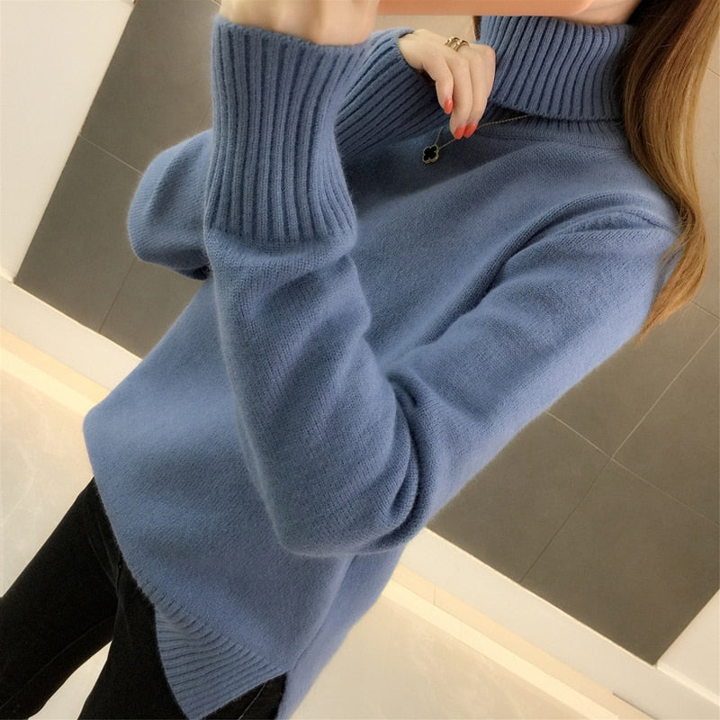 and winter 2019 new Korean version loose Pullover over over-heated thick solid color long sleeve knitted bottom sweater