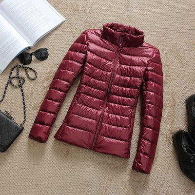 90% Ultra-light Plus Size Thin Down Jacket Women 2019 Autumn Winter Slim Short Hooded Warm White Duck Down Coat Women Outerwear
