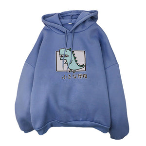 Harajuku Cartoon Dinosaur Print Hoodies Women Casual Long Sleeve Loose Hooded Sweatshirt Autumn Winter Fleece Hoody Pullover Top