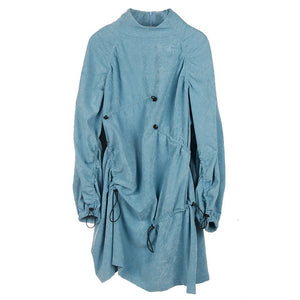 [EAM] Women Blue Drawstring Pleaed Big Size Dress New Stand Collar Long Sleeve Loose Fit Fashion Tide Spring Autumn 2019 1D490