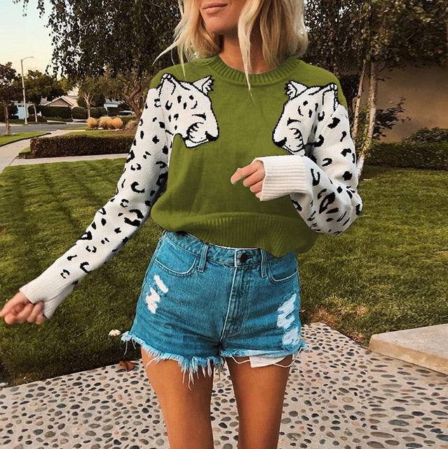 Autumn Knitted Cropped Sweater for Women Leopard Pattern Long Sleeve Knitting Sweaters Pullovers Female 2019 Winter Loose Jumper