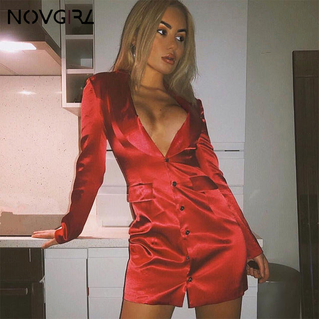 Novgirl Sexy Deep Notched Neck Silk Satin Bodycon Dress Women 2019 Long Sleeve Button Office Lady Blazer Dress Work Wear Dresses