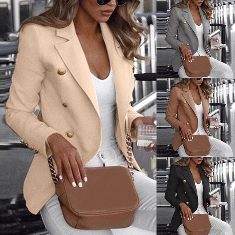 Fashion Slim Fit Double Breasted Women Long Sleeve Blazer Suit Button Work Office Lady Jacket Autumn Plus Size Coat S-5XL