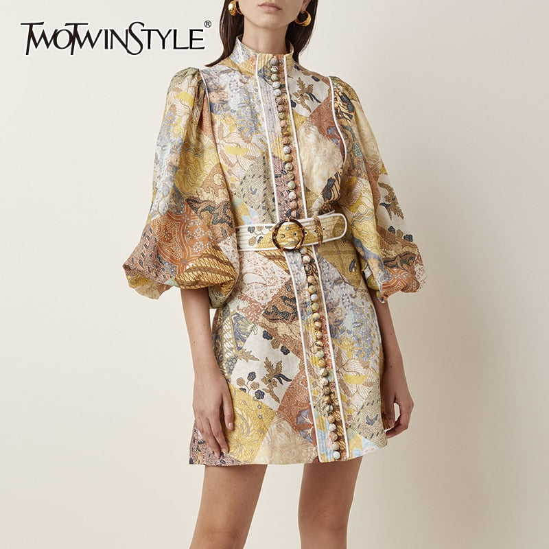 TWOTWINSTYLE Print Dress For Women Stand Collar Lantern Long Sleeve High Waist Sashes Vintage Dresses Female 2019 Autumn Fashion