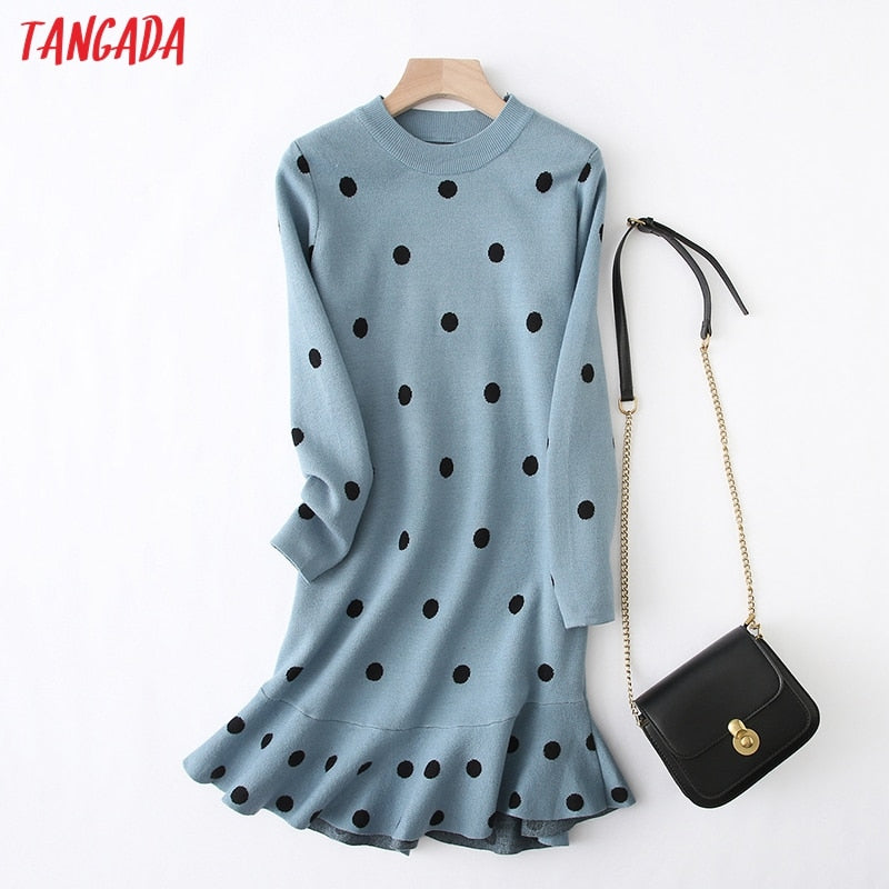 Tangada women dots knitted sweater dress elegant long sleeve ruffles 2019 autumn winter lady knit midi dress YU27