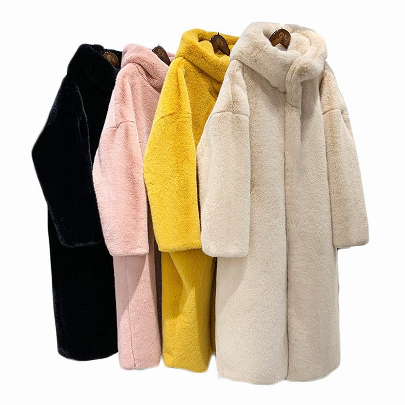 ZADORIN 2019 Winter New Luxury X- Long Faux Mink Fur Coat Women Furry Warm Fur Hoodie Loose Pink Black Fur Jacket Coats Female