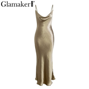 Glamaker Gold satin lace up sexy dress Women backless fashion long party dress Elegant club night soft maxi dress retro 2019