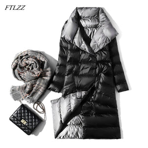 FTLZZ Ultra Light Down Jacket Women Winter Double Sided Slim White Duck Down Coat Single Breasted Turtleneck Warm Parkas
