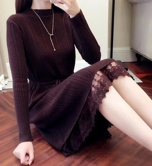 2019 Autumn Winter Sweater Dress Women's Turtleneck Long Sleeve A Line thick Lace Knitted Dress Bodycon Female Slim Girl Dresses