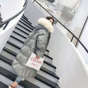 Fashion White Fur Collar Hooded Warm Coat Women X-long Jacket 2019 New Winter Loose Down Jacket Thick Coat Female Outerwear WM22