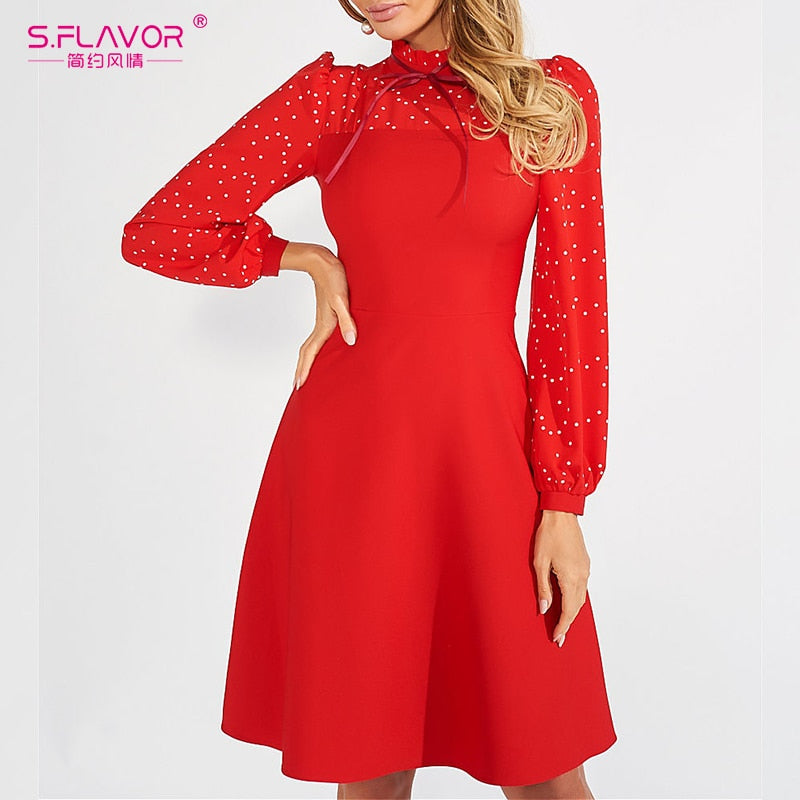 S.FLAVOR Fashion Patchwork Dot Print Dress Women Vintage Turtleneck Party Vestidos Female Chic Slim Long Sleeve A-Line Dress