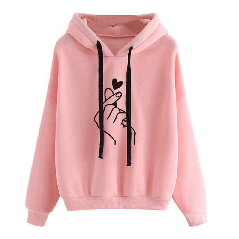Oversize Heart Print Hooded Pullover Long Sleeve Solid Color Hooded Sweatshirt Oversized Hoodie Casual Loose Cotton Hoodies