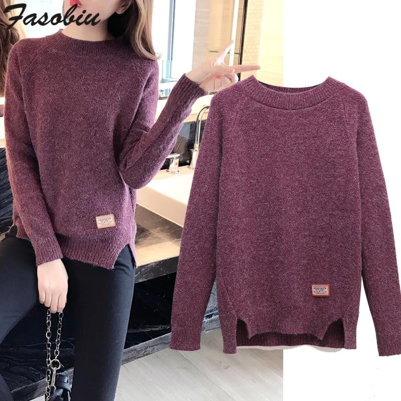 2019 New Winter Round Neck Pullover Sweater Women Korean Long Sleeve Loose Thin Split Knitted Sweater Female Quality Jumper Tops