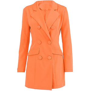 Simenual Solid Fashion Office Lady Blazers Autumn Winter Casual Double-breasted Jacket 2019 Long Sleeve Slim Orange Women Blazer