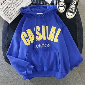 Hoodies Women Letter Thicker Plus Velvet Warm Pockets Hooded Womens High Quality Korean Style Harajuku Female Leisure Pullover