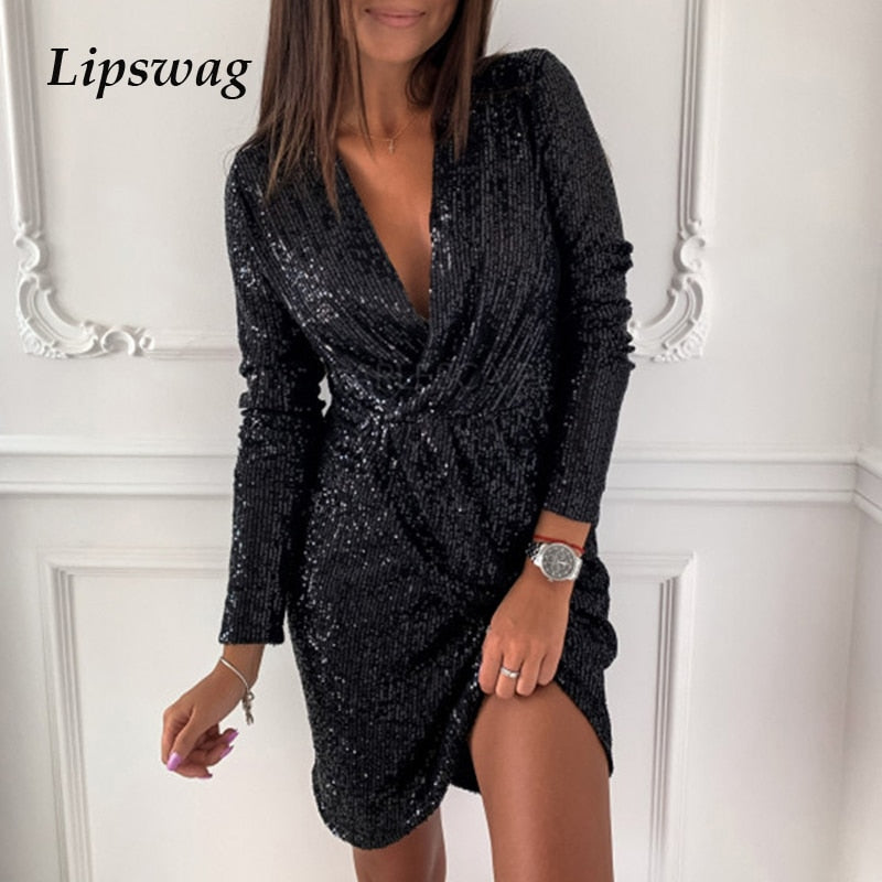 Sexy Sequin Glitter Shiny Slit Mini Dress Women Autumn V-neck Party Dress Winter Long Sleeve Irregular Bodycon Dresses Vestidos