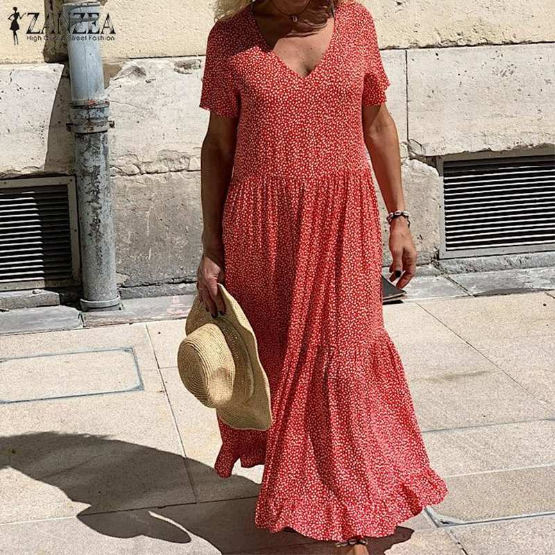 ZANZEA 2019 Summer Sundress Women's Bohemian Polka Printed Maxi Dress Casual Female V Neck Short Sleeve Robe Ruffle Vestidos 5XL