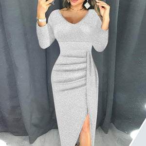 VIEUNSTA Sexy Off Shoulder Party Dress Women High Slit Peplum Bodycon Dress Autumn Three Quarter Sleeve Bright Silk Shiny Dress