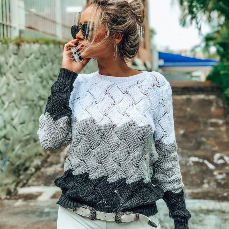 2019 Autumn Hollow Out O Neck Pullovers Women's Sweater Plus Size 3XL Criss Cross Knitted Sweater Women Rainbow Female Jumper