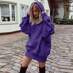 2019 Women Long Hoodies Loose Sweatshirts Dress Punk Style Hooded Autumn Winter Sweatshirt Sudaderas Mujer Harajuku Clothes