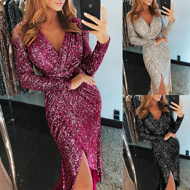 2019 Sequin Party Dress Glitter Dress Women Sexy V neck Bodycon Slim Glitter Dress Vestidos Elegant Ladies Party Dress