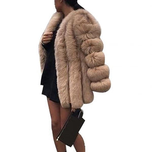 Women Casual Jacket Plus Size Short Faux Fur Coat Warm Furry Jacket Long Sleeve Outerwear Autumn Winter Loose Overcoat Outwear