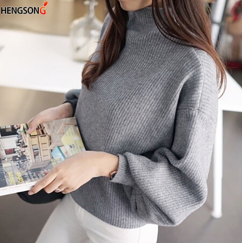 HENGSONG 2019 Autumn Lantern Sleeve Half Turtleneck Lady Female Tops Women Sweater Clothes New Fashion Korean New 5 Colors
