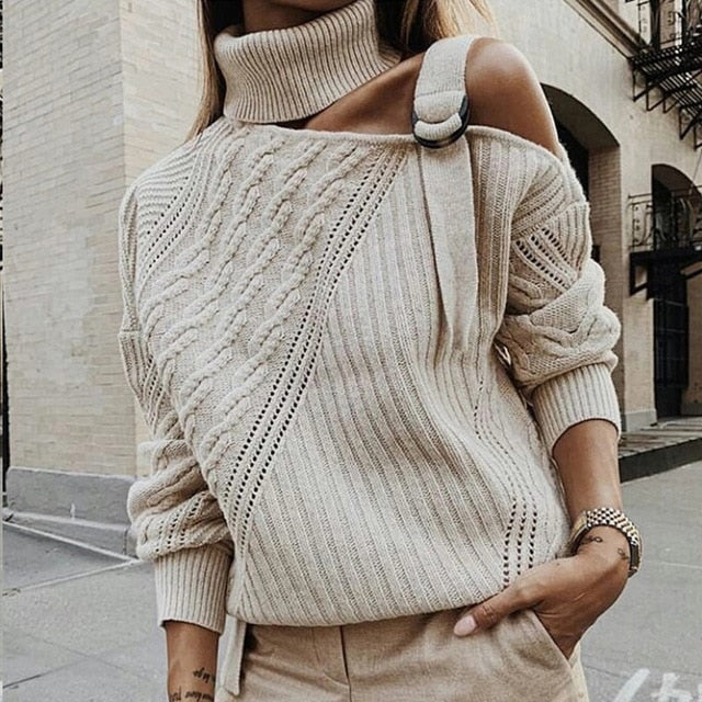 Women's Off Shoulder Turtleneck Sweater Pullovers Hollow Out Knitted Twisted Sweaters Woman 2019 Autumn Winter Pullover Ladies