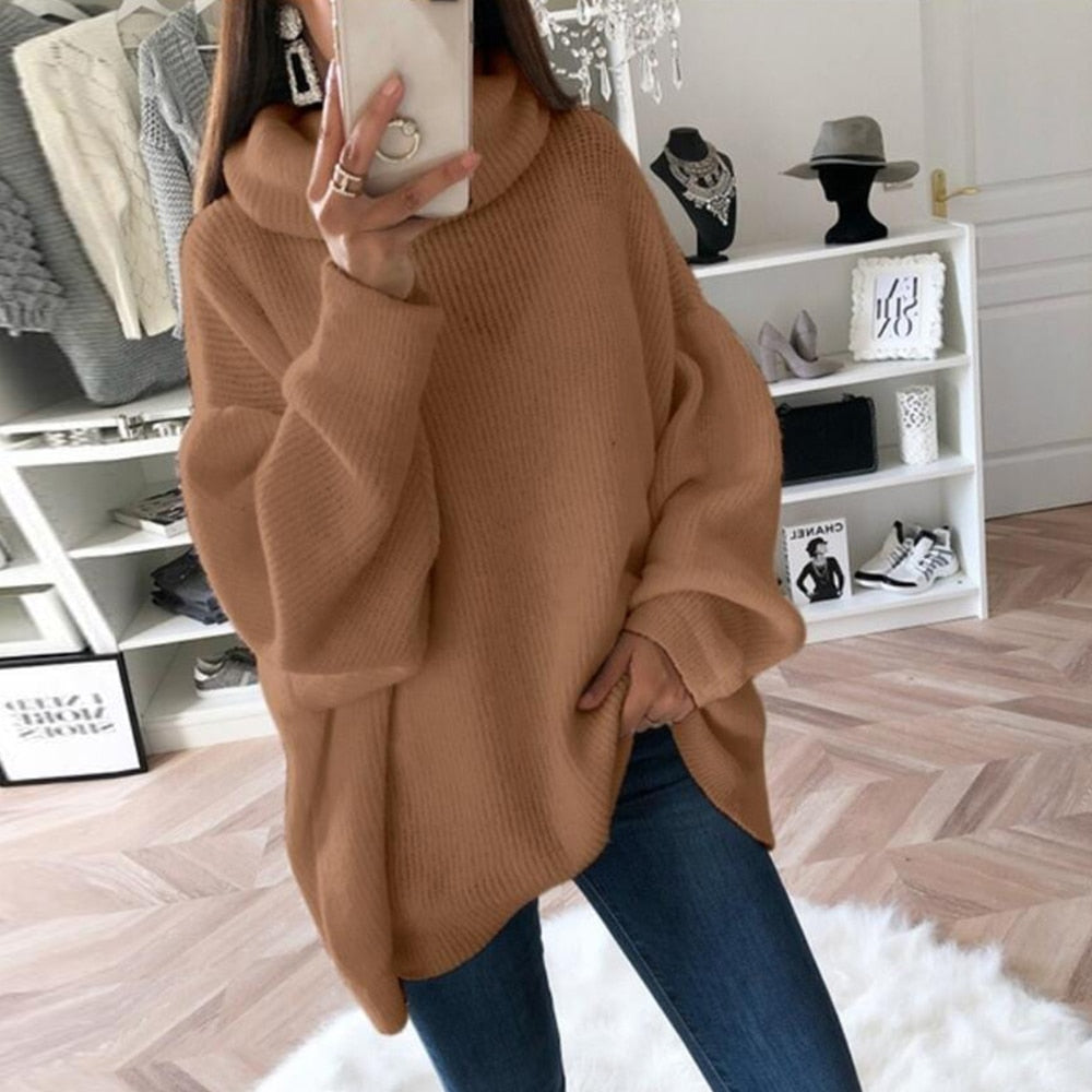 2019 New Women Casual Sweater Loose Turtleneck Sweater Women Knitwear Long Sleeve Female Autumn Pull Jumpers