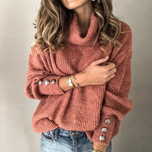 5XL Turtleneck Knitted Sweaters Women Winter Autumn Long Sleeve Rivet Pullover Sweater New Casual Pullover Streetwear Tops Femme
