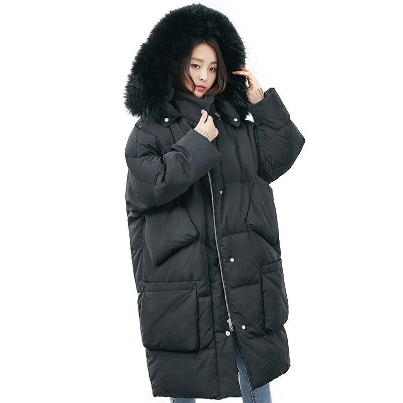 Winter Jacket Women White Duck Down Jacket Big Raccoon Fur Collar Outwear Windproof Loose Coat Thick Warm Down Long Parka