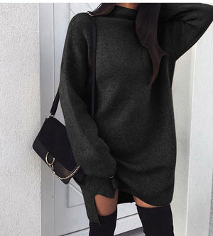 Autumn Winter Warm Long Sleeve Women Knitted Sweater Dress White Turtleneck Sweaters Pullover Jumper Female Clothes