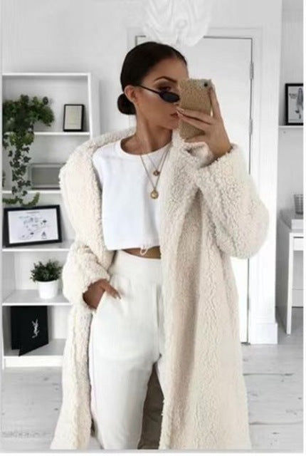 Autumn Winter Coat Women 2019 Casual Loose Long Teddy Coat Female Vintage Plus Size Thick Faux Fur Jackets Plush Overcoat